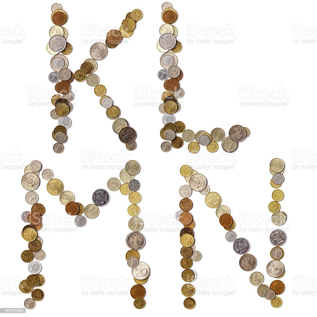 K-L-M-N alphabet letters from the coins royalty-free stock photo