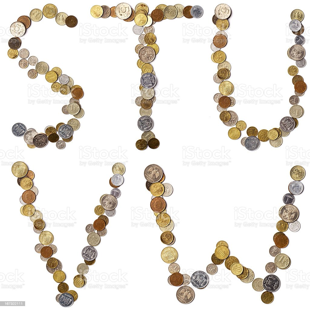 S-T-U-V-W alphabet letters from the coins stock photo