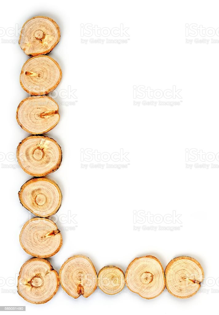 Alphabet letters made from Wood slice on white Background.L stock photo