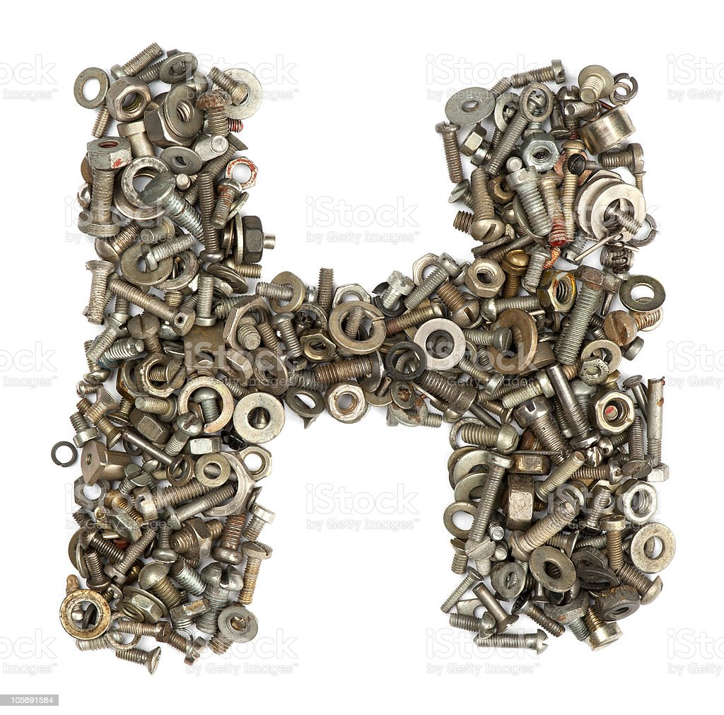 alphabet made of bolts - The letter h royalty-free stock photo