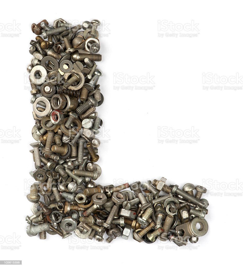 alphabet made of bolts - The letter l stock photo