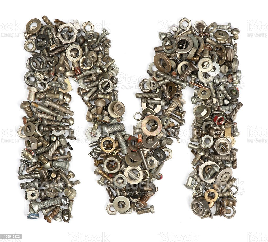 alphabet made of bolts - The letter m royalty-free stock photo