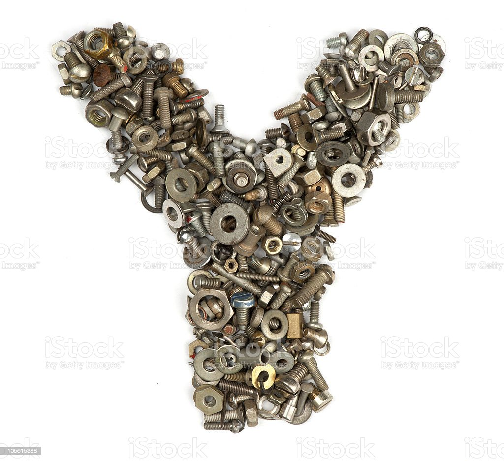 alphabet made of bolts - The letter y royalty-free stock photo