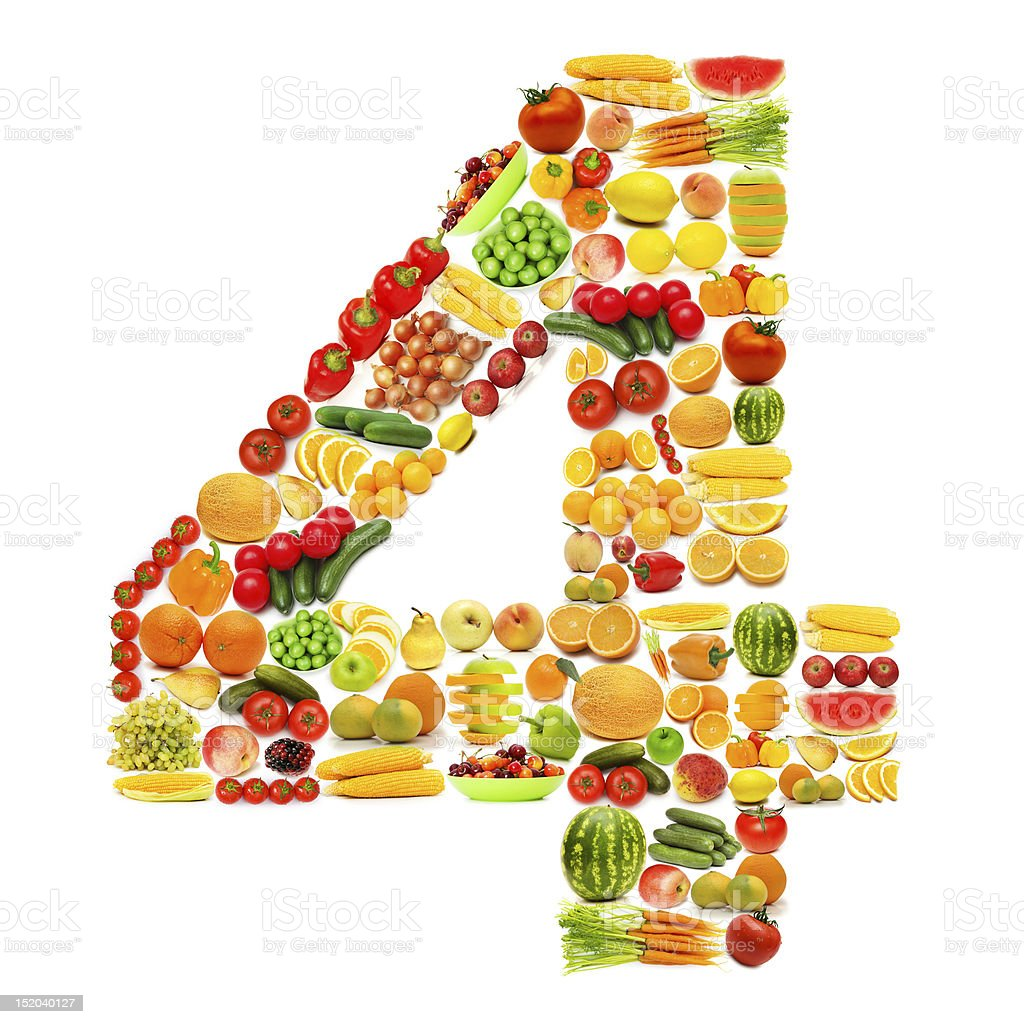 Alphabet made of many fruits and vegetables stock photo