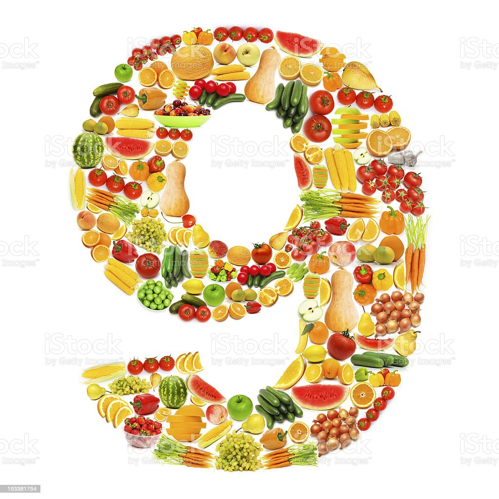 Alphabet made of many fruits and vegetables royalty-free stock photo