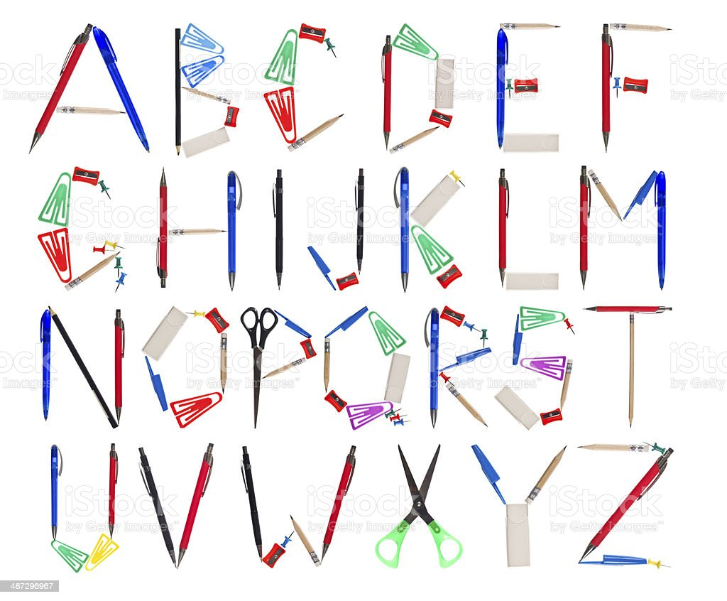 Alphabet made of office supplys stock photo