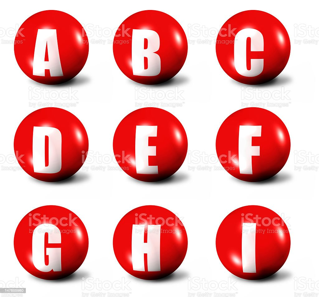 alphabet made of red 3D stock photo