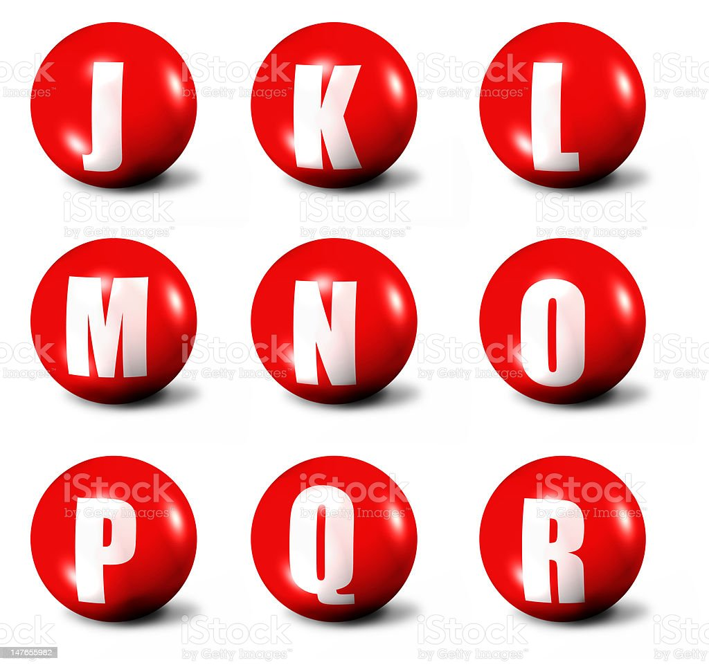 alphabet made of red 3D spheres royalty-free stock photo