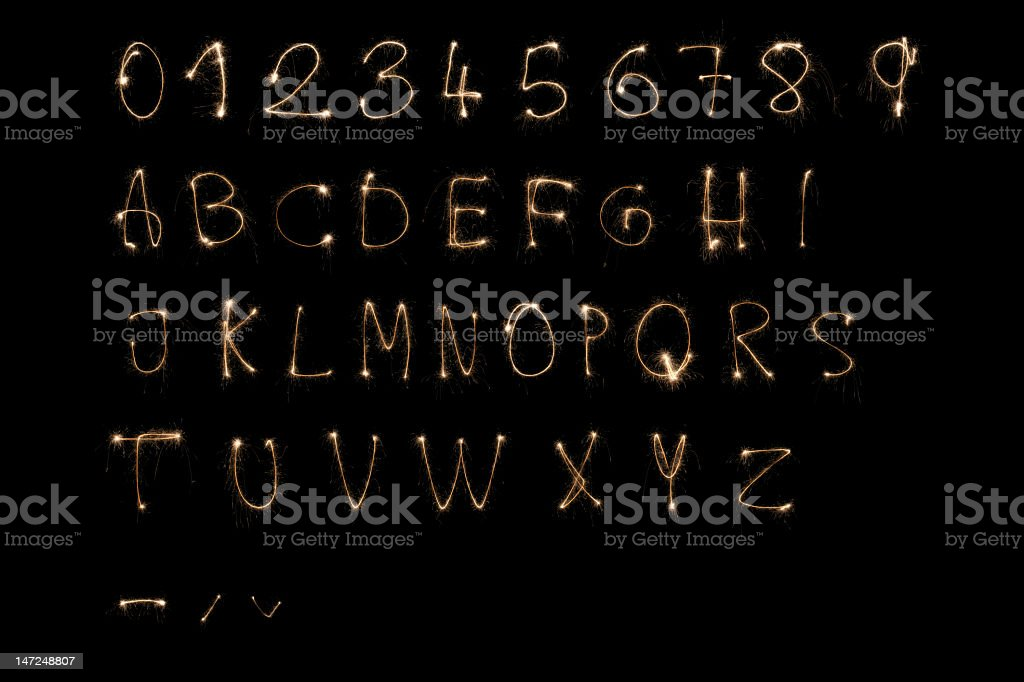 Alphabet made of sparkler design stock photo