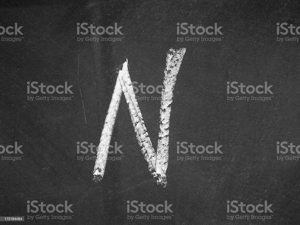 alphabet - N - Chalk stock photo