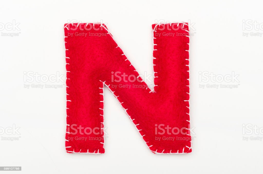 Alphabet N is made of felt stock photo