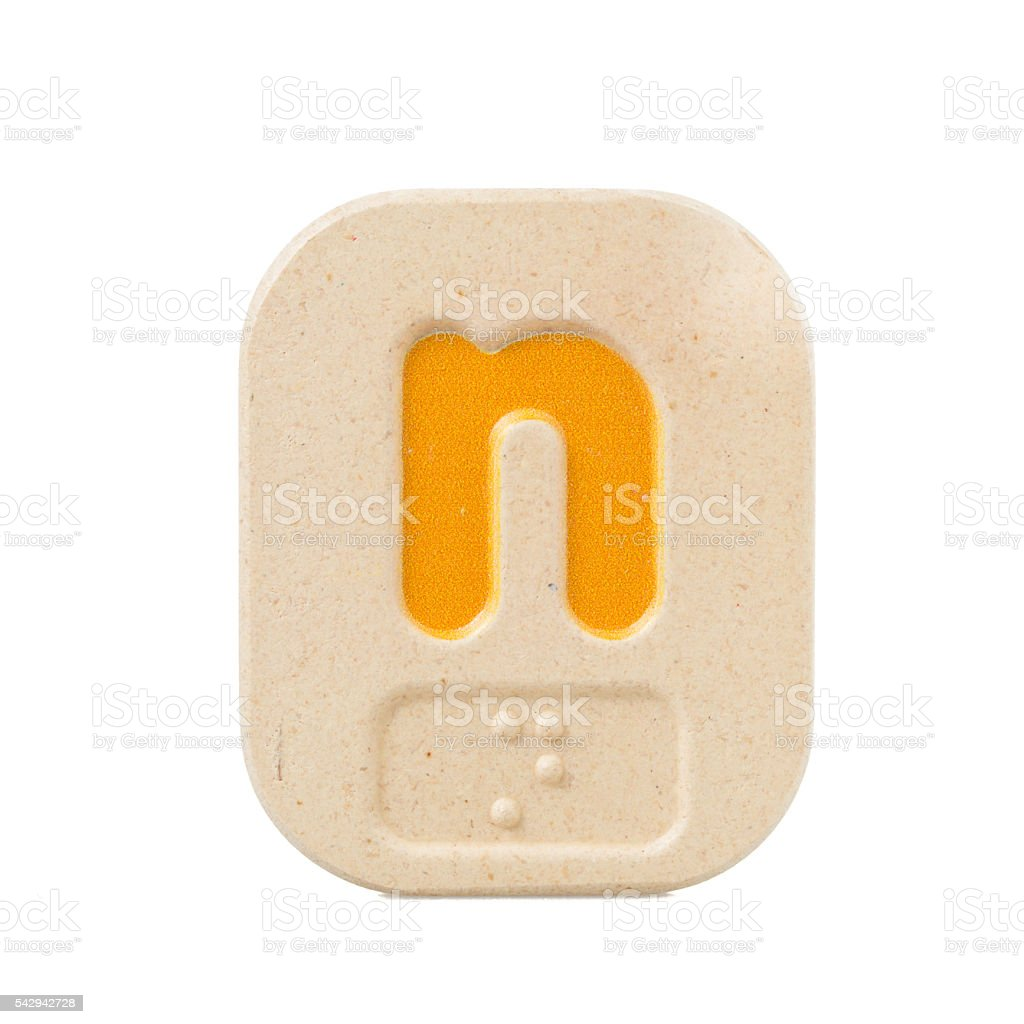 alphabet n on white background  with Braille stock photo