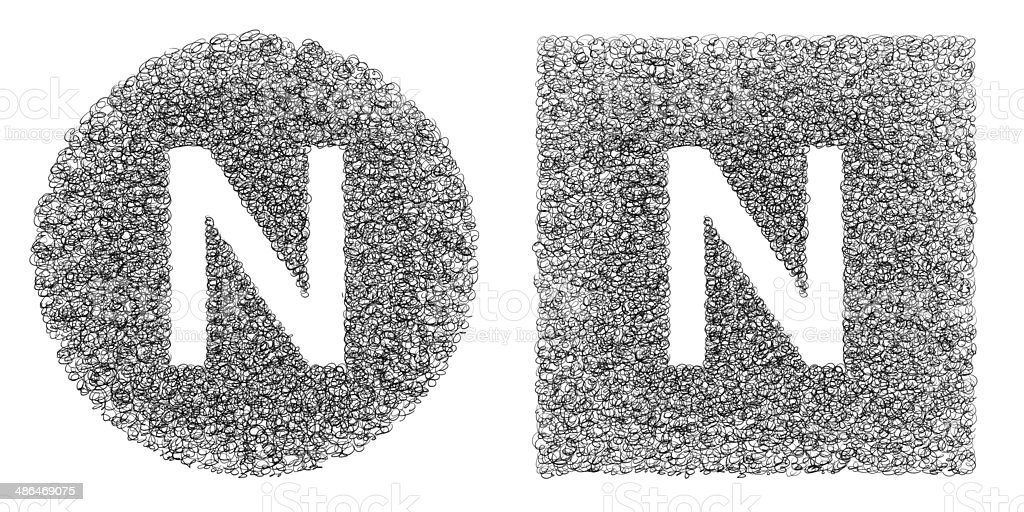 Alphabet N stock photo