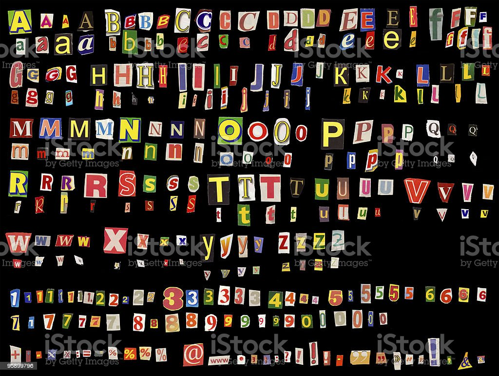 Alphabet newspaper uppercase, lowercase, numbers, stock photo