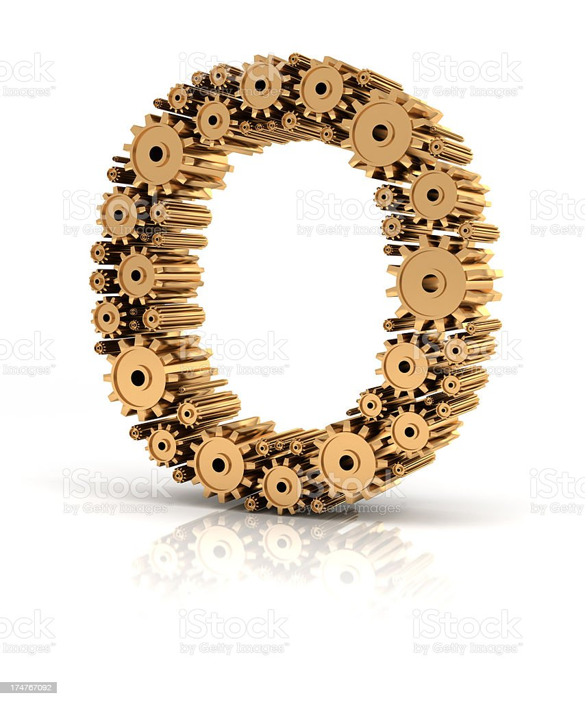 Alphabet O formed by gears royalty-free stock photo