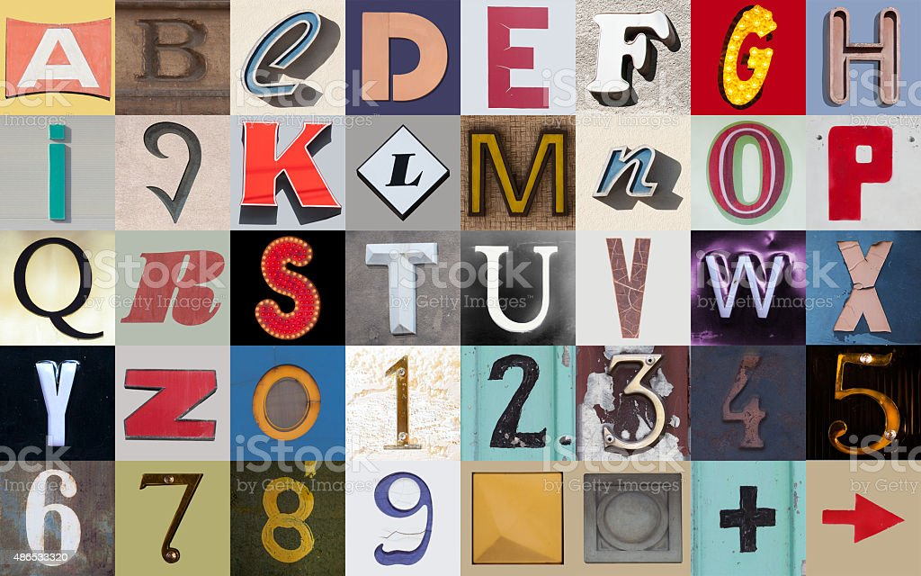 Alphabet of the city stock photo