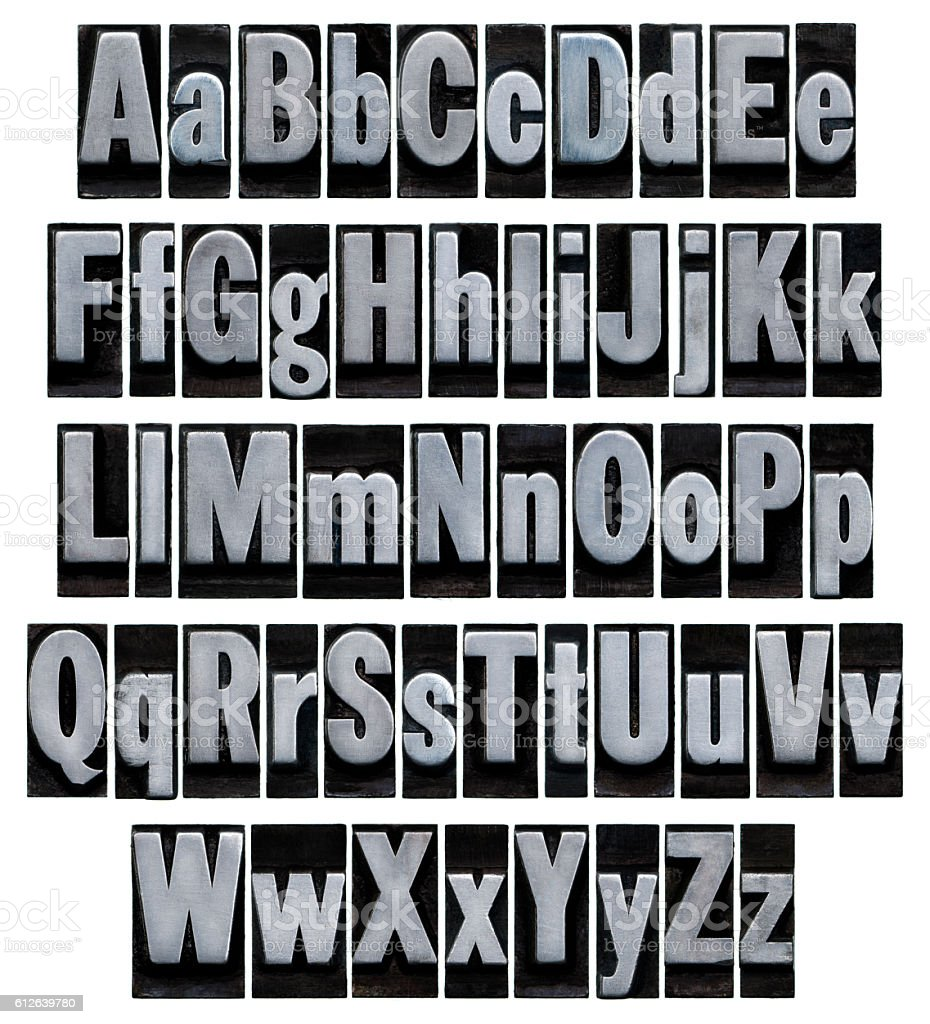 Alphabet - Old metal letterpress type stock photo