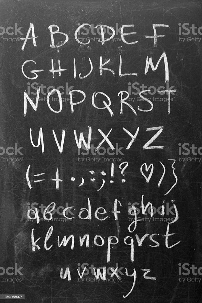 Alphabet on blackboard stock photo