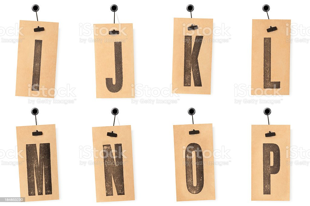 Alphabet on price tags I to P royalty-free stock photo