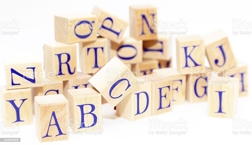 alphabet on wooden blocks stock photo