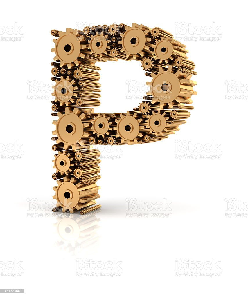 Alphabet P formed by gears stock photo