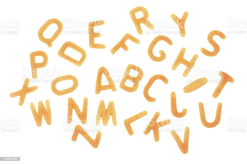 Alphabet Pasta letters on white background stock photo