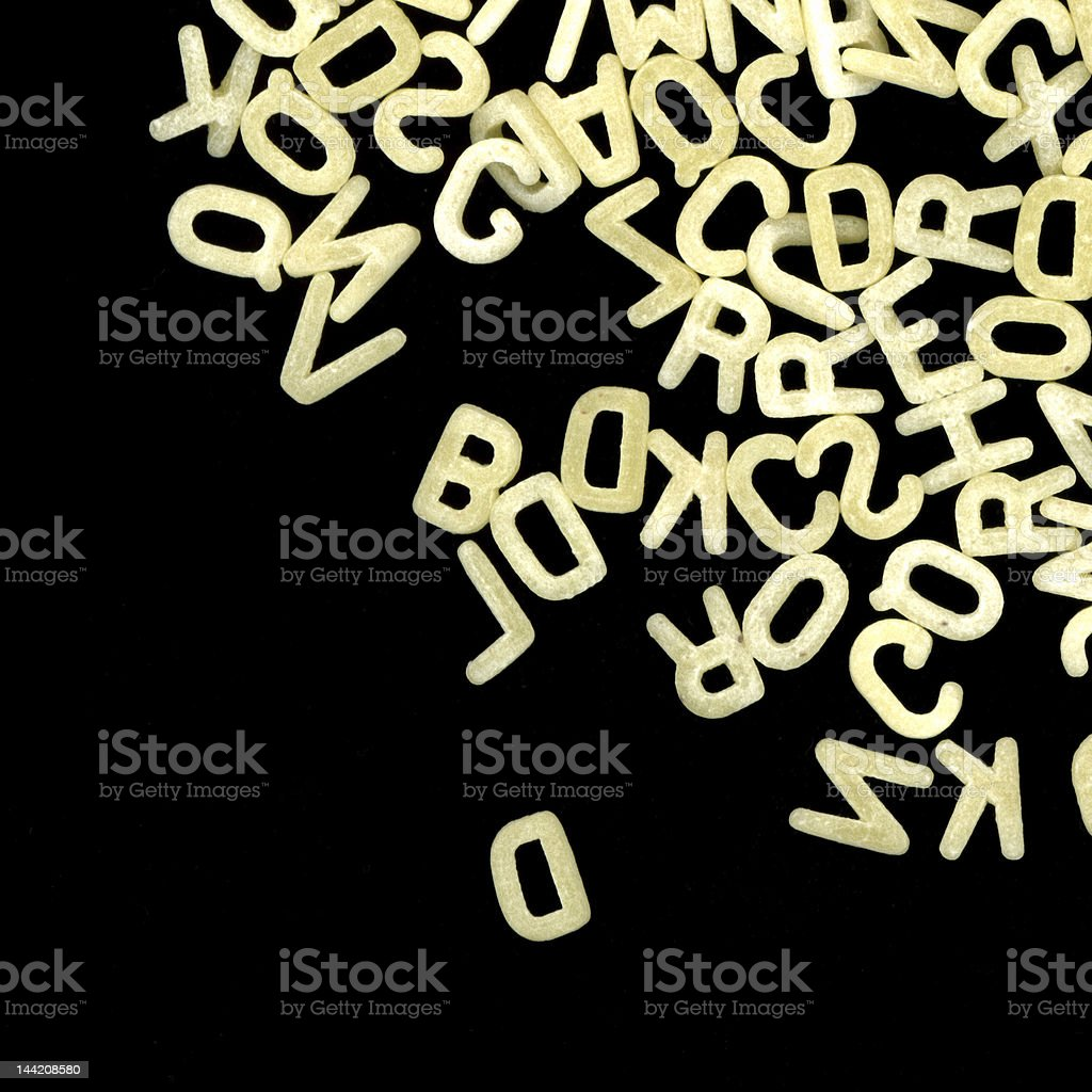 Alphabet pasta stock photo