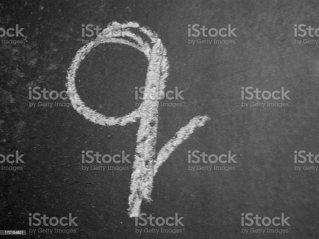 Alphabet - q - Chalk stock photo
