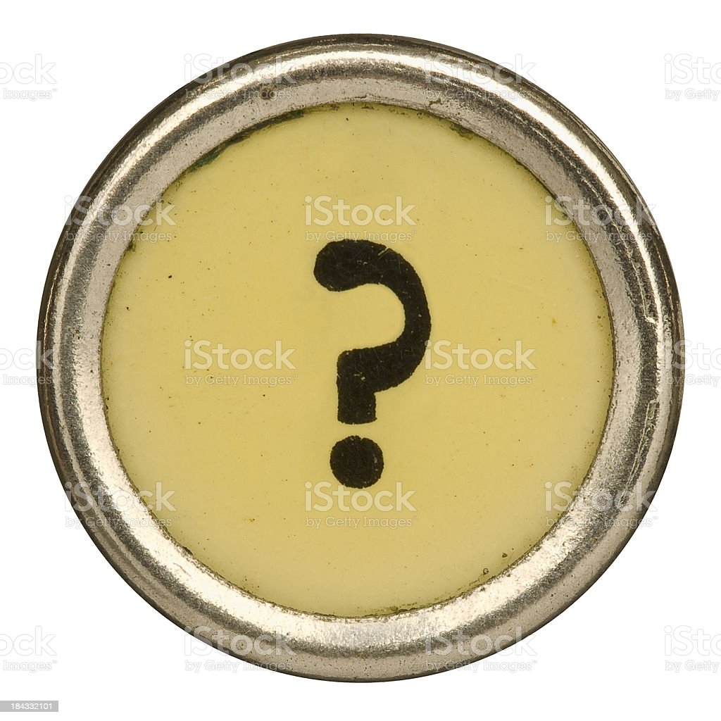 Alphabet - ? Question Mark Key  from old Manual Typewriter. royalty-free stock photo