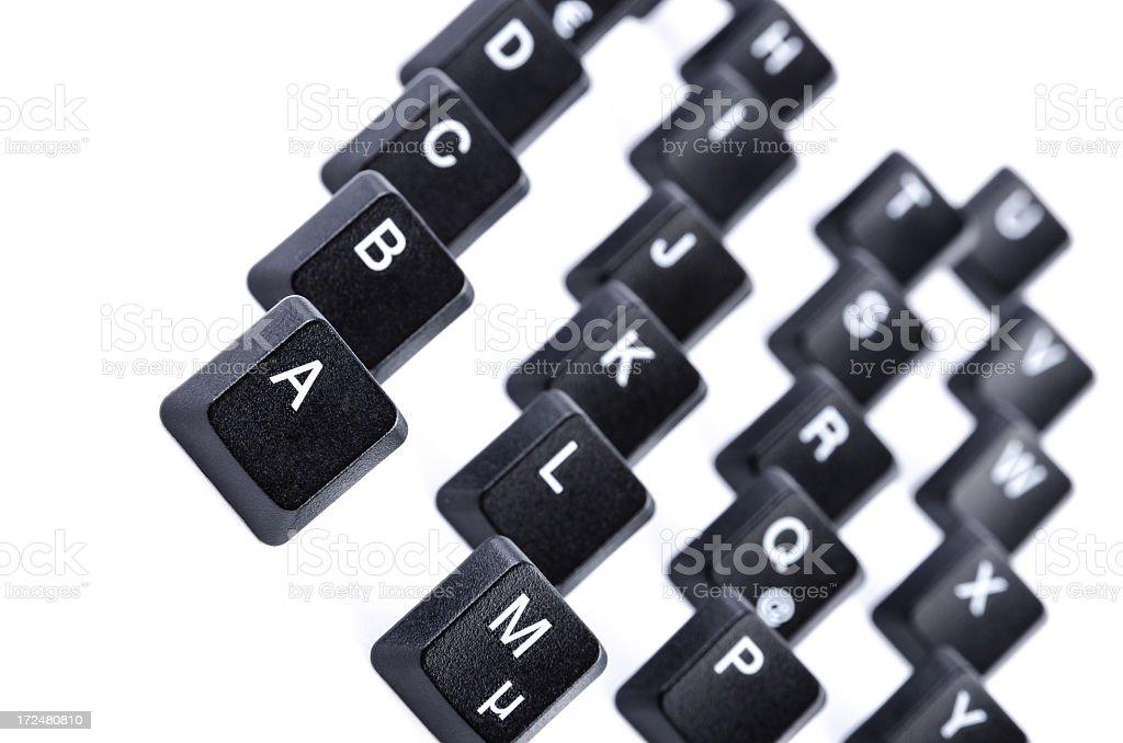 Alphabet row with computer keys royalty-free stock photo