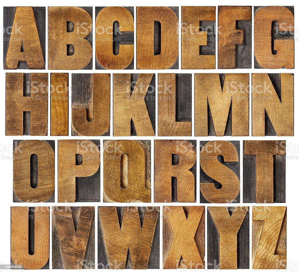 alphabet set in wood type blocks stock photo