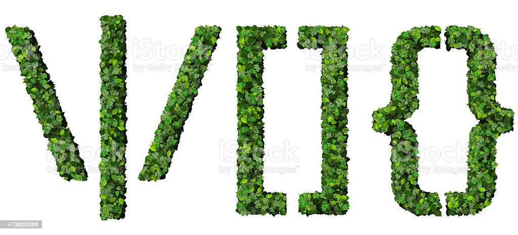 Alphabet signs made from green leaves. stock photo