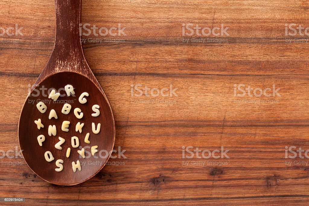 Alphabet soup letters stock photo