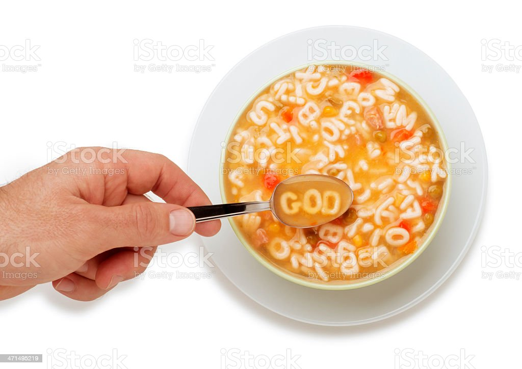 Alphabet Soup Spelling God stock photo