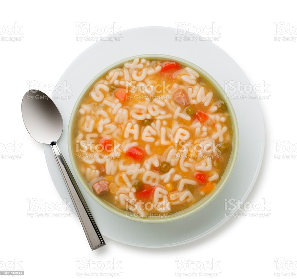 Alphabet Soup Spelling Help stock photo