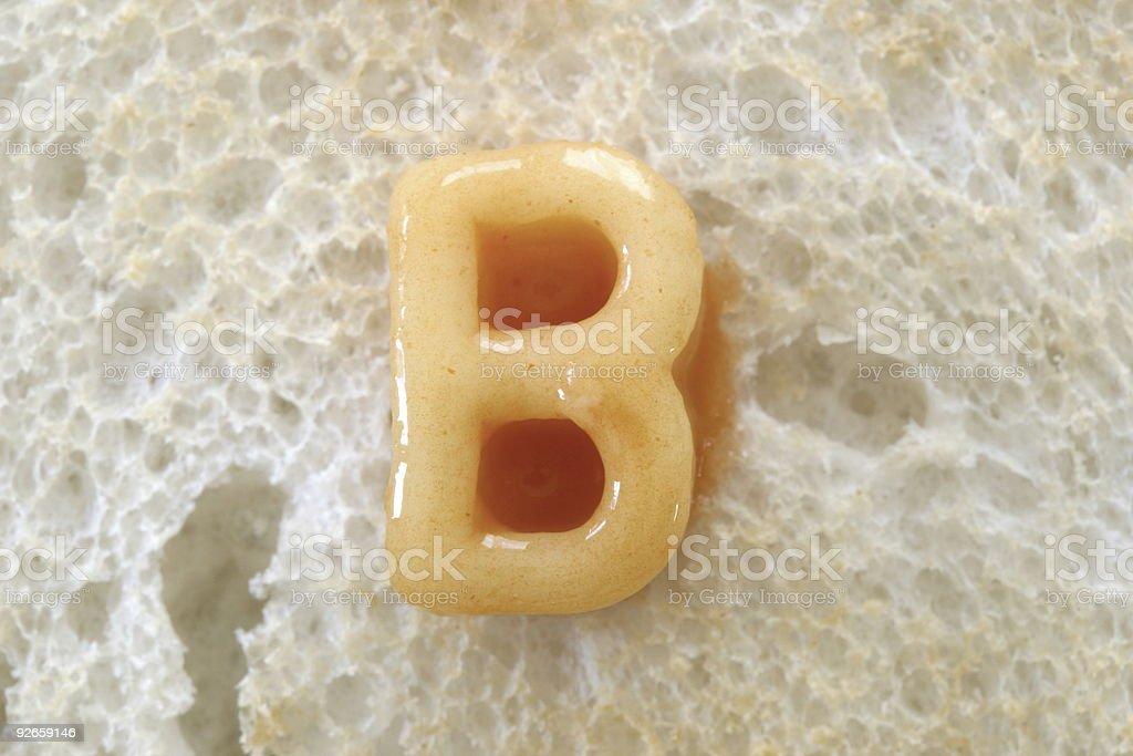 alphabet spaghetti letter b royalty-free stock photo
