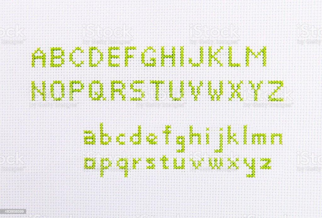alphabet stitch stock photo