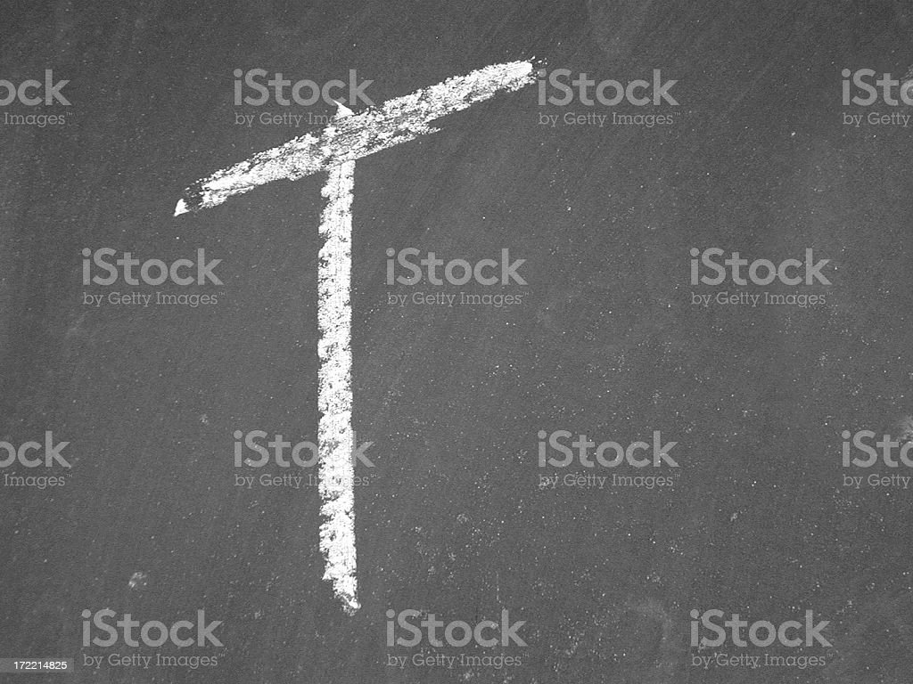 alphabet - T - Chalk royalty-free stock photo