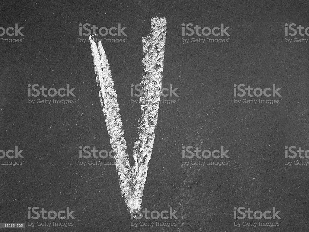 alphabet - V - Chalk stock photo