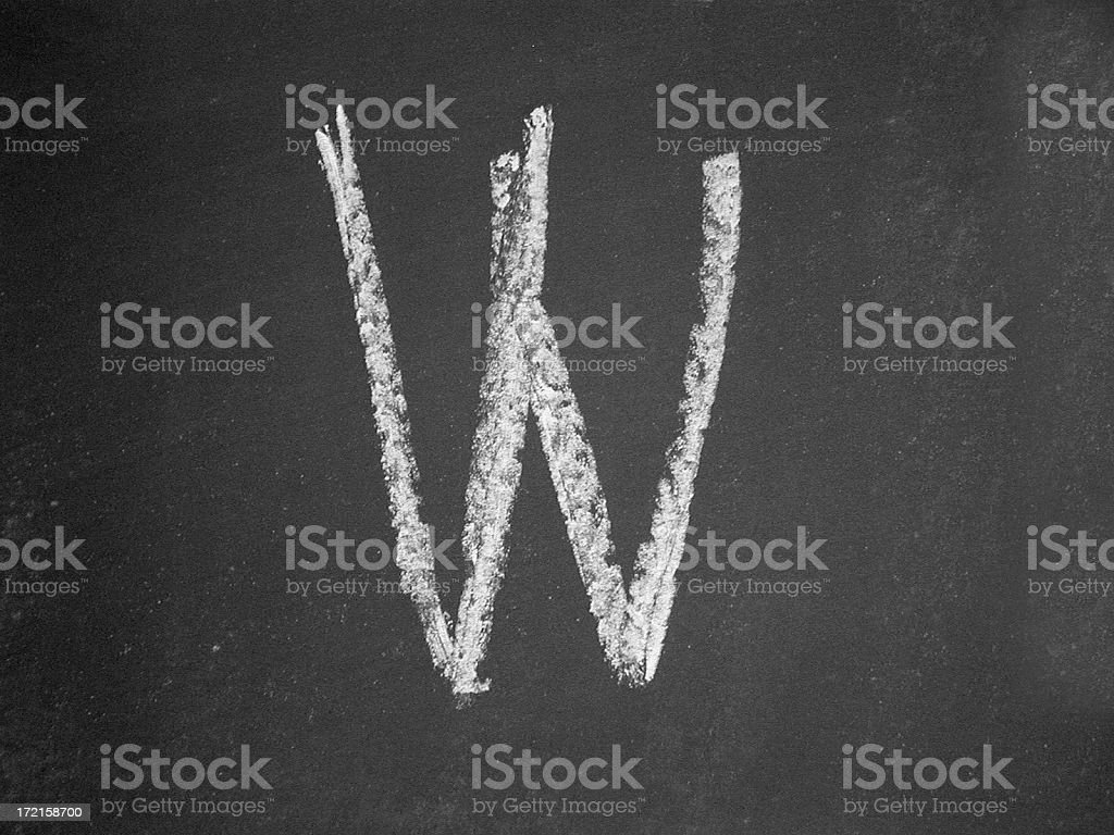 alphabet - W - Chalk royalty-free stock photo
