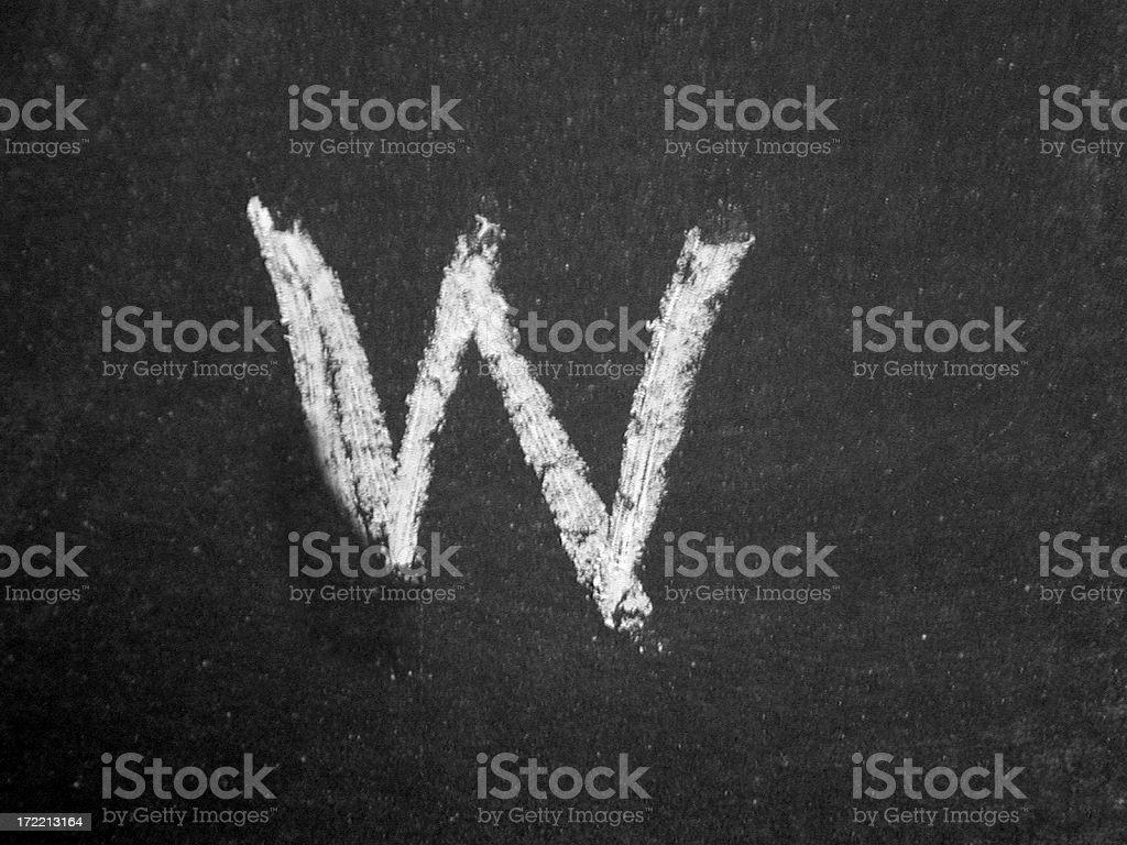 Alphabet - w - Chalk royalty-free stock photo