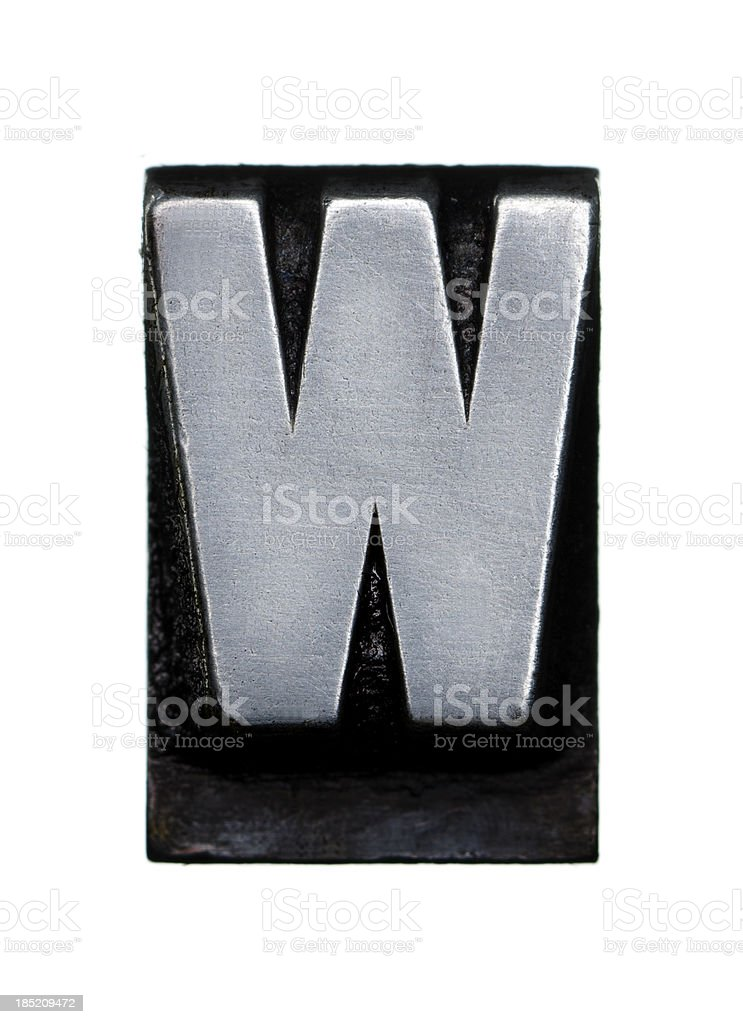 Alphabet W - Letterpress letter royalty-free stock photo