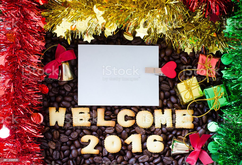 alphabet 'welcome 2016' made from bread cookies stock photo