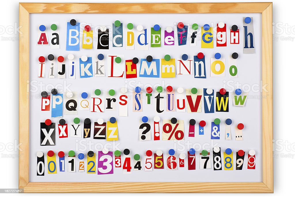 Alphabet with different color cutout letters, numbers and punctuation marks. royalty-free stock photo