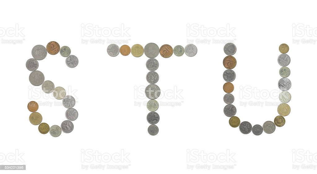 Alphabet with old coins stock photo