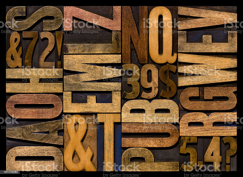 Alphabet - Wood Letters. Horizontal. stock photo