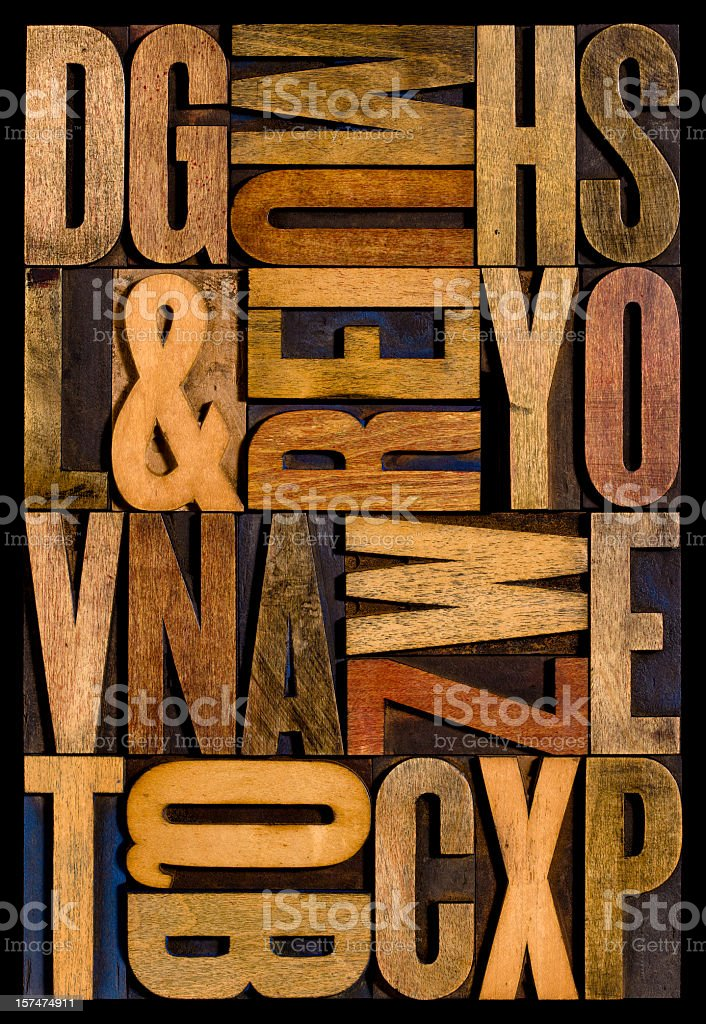 Alphabet - Wood Letters. Vertical. stock photo
