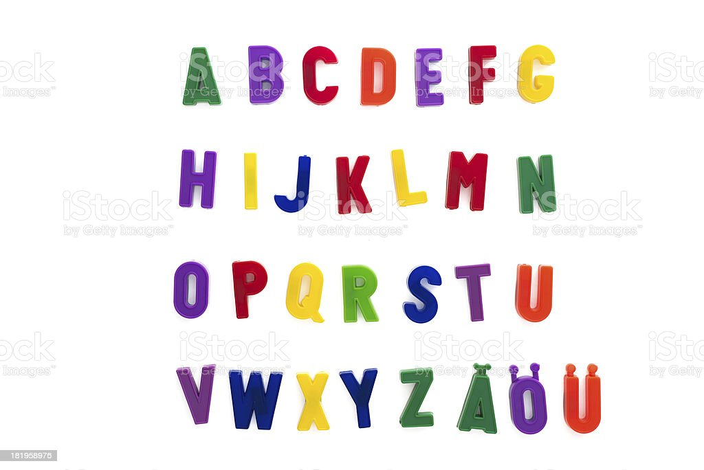 alphabet written with magnetic letters included ä, ö, ü royalty-free stock photo