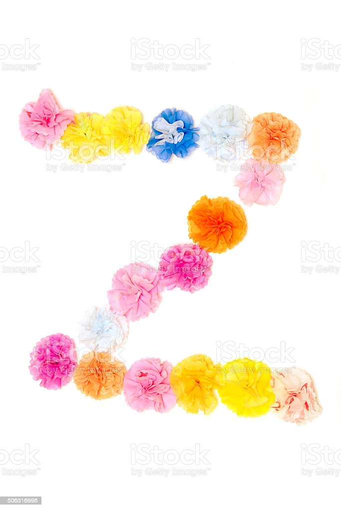 Alphabet Z flowers made from paper craftwork stock photo