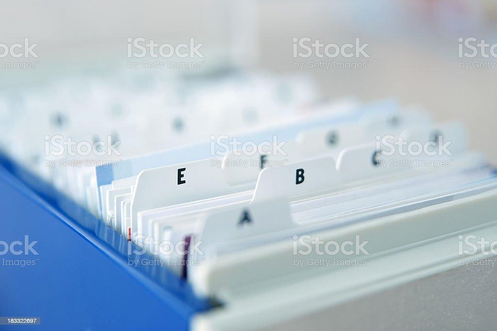 Alphabetical Index Cards stock photo